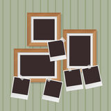 Wooden photo frames composition and instant blank photo Stock Images
