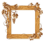 Wooden photo frames with grapes Stock Image