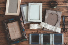 Wooden photo frames Stock Photo