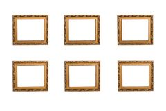 Wooden photo frames. Textured and golden wooden photo frames royalty free stock images
