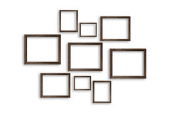Wooden photo frames on white background Stock Images