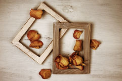 Wooden Photo Frames With Dry Roses Stock Image