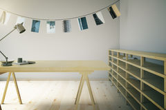 Wooden photo studio with pictures Royalty Free Stock Photography