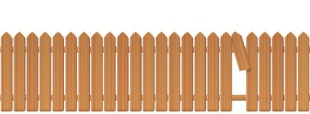 Wooden Picket Fence With Gap In The Fence. Palisade or stockade with broken plank and loophole to slip through, escape, bolt, run away, break free, flee, take Royalty Free Stock Images
