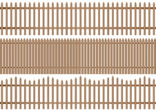 3 wooden picket fence Royalty Free Stock Photo