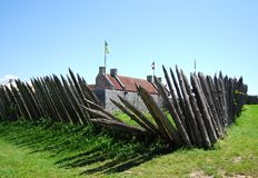 Wooden pickets surround historic Fort Ticonderoga. In upstate New York Royalty Free Stock Photography