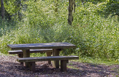 Wooden picnic bench Royalty Free Stock Photography