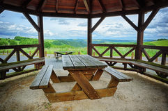 Wooden picnic place Stock Image