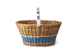 Wooden picnic and shopping basket on the white background. stock photography