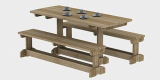 Wooden picnic table Stock Photography