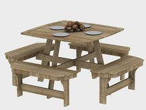 Wooden picnic table Royalty Free Stock Image