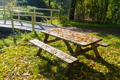 Wooden picnic table Royalty Free Stock Photos