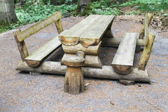 Wooden picnic table with benches Royalty Free Stock Photography