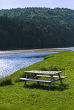 Wooden Picnic Table Blue Creek Forest Royalty Free Stock Photo