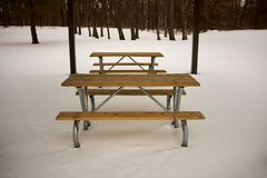 Wooden picnic table and chairs in winter snow. Empty wooden picnic table and benches in winter snow in a wooded park with tree trunks visible behind Royalty Free Stock Images
