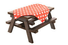 Wooden picnic table Royalty Free Stock Photo