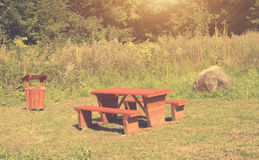 Wooden picnic table Royalty Free Stock Photography