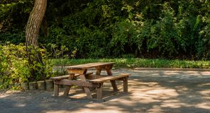 Wooden picnic table in park. Wooden picnic table on concrete block sidewalk in park under shade tree Royalty Free Stock Images