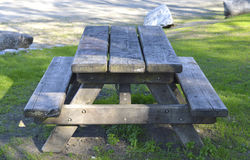 Wooden picnic table. Royalty Free Stock Images