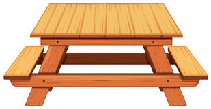 Wooden picnic table on white background Royalty Free Stock Image