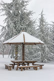 Wooden picnic table with wooden umbrella at winter 3 Stock Photo