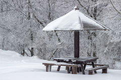 Wooden picnic table with wooden umbrella at winter 2 Royalty Free Stock Photo