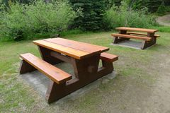 Wooden Picnic Tables and Benches Royalty Free Stock Photography