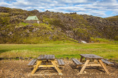 Wooden picnic tables in Landmannalaugar Royalty Free Stock Image