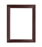 Wooden picture black frame isolated on white background Stock Photos