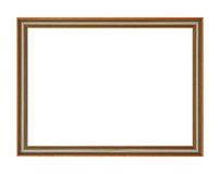 Wooden picture frame. Isolated on white Royalty Free Stock Photos