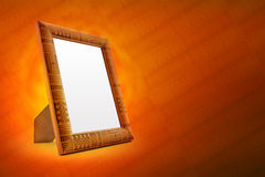Wooden Picture Frame with Ancient Ornament Stock Photo