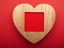 Wooden picture frame. Background Valentines Day. Royalty Free Stock Photography