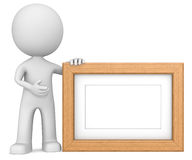 Wooden picture frame. The dude 3D character holdning Picture Frame. Teak, Copy Space Royalty Free Stock Photos
