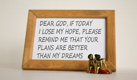 Wooden picture frame with Inspirational quote - `Dear God, if today i lose my hope, please remind me that Your Plans are better