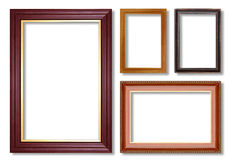 Wooden picture frame isolated on white Stock Images