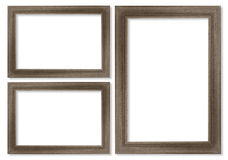 Wooden picture frame isolated on white Stock Photos