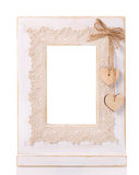 Wooden picture frame isolated on white background with cut out blank space Stock Image