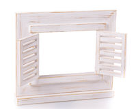 Wooden picture frame isolated on white background with cut out blank space Stock Photo