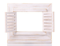 Wooden picture frame isolated on white background with cut out blank space Royalty Free Stock Image