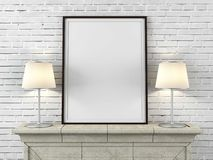Wooden picture frame with lamps Stock Photo