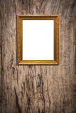 Wooden picture frame on old wood background Stock Photos