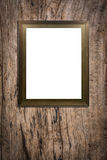 Wooden picture frame on old wood background Stock Photo