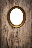 Wooden picture frame on old wood background Stock Image