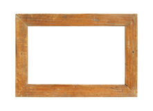 Wooden picture frame. Rustic wooden picture frame isolated on white background Stock Photography