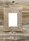 Wooden Picture Frame on Rustic Wood Stock Photos