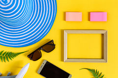 Wooden picture frame and set object vacation relax on colorful p. Aper with travel and fashion style Stock Images