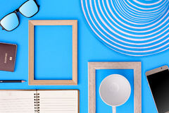 Wooden picture frame and set object vacation relax on colorful p. Aper with travel and fashion style Royalty Free Stock Photography