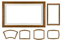 Wooden picture frame set on white isolated Royalty Free Stock Photography