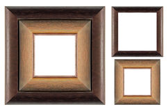 Wooden picture frame set on white isolated Stock Photos