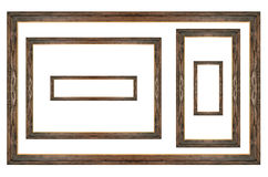 Wooden picture frame set on white isolated Stock Images